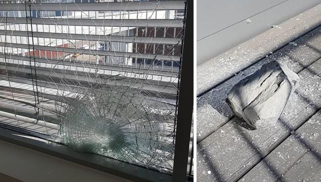 Sprängning gick fel – sten krossade fönster