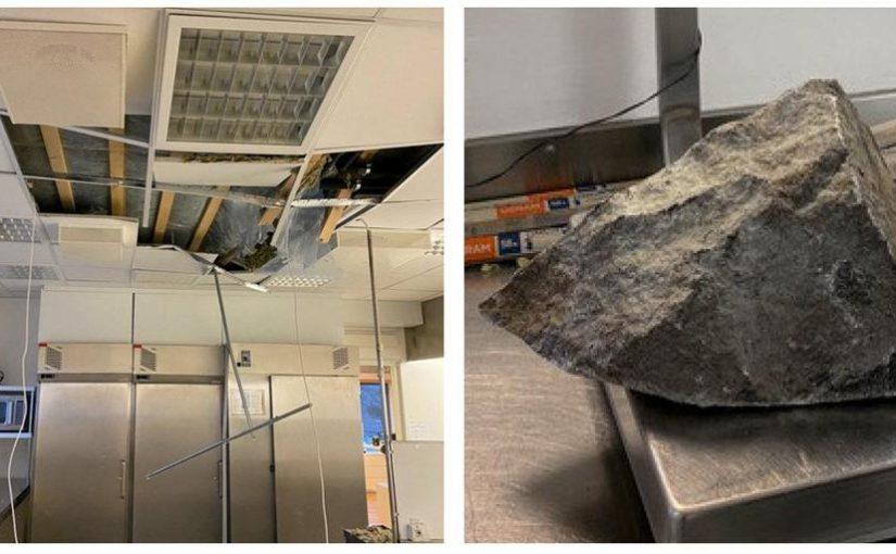 Sprängning gick snett – 24 kilos sten for in genom taket